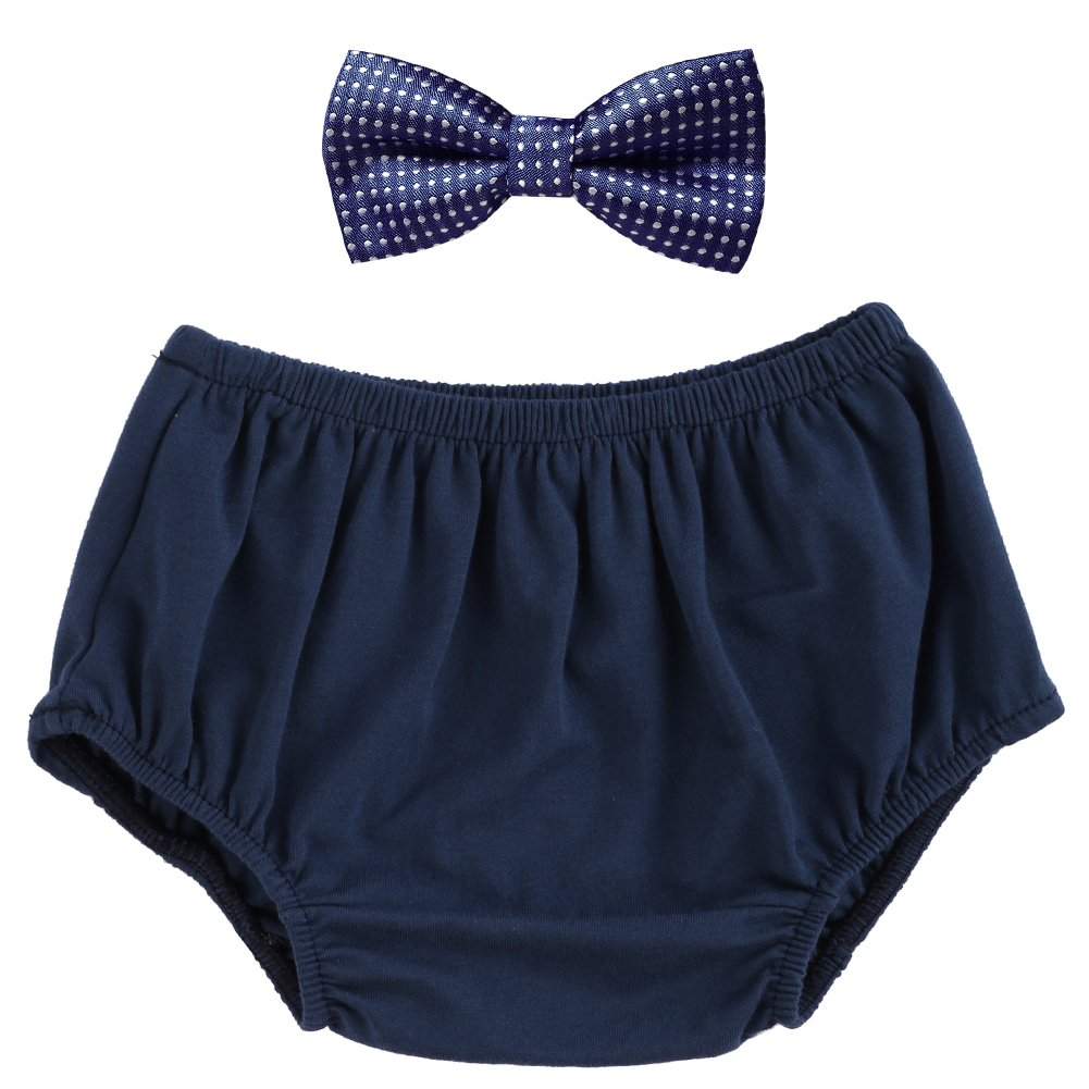 Baby Boys Cake Smash Outfit Bloomers Bowtie Set/Bow Ties - Various Designs Navy