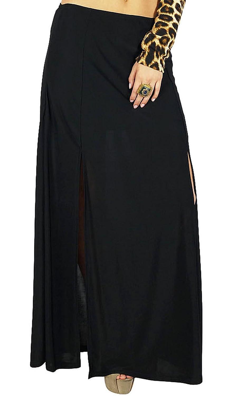 Bimba Frauen-Schwarz-langen Rock mit 2 Slits Stretch Lycra Stoff böhmische Art
