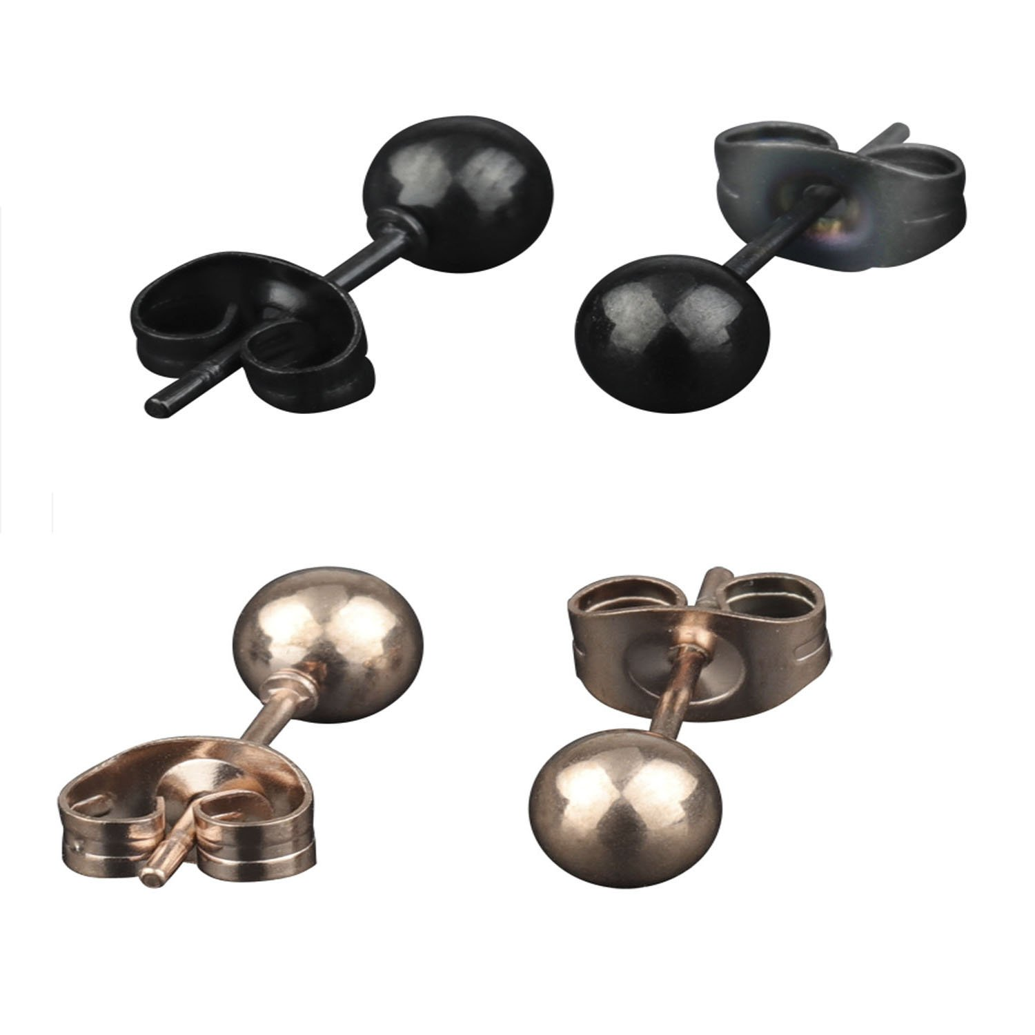 316L Surgical Stainless Steel Round Ball Studs Earrings 2 Pair Black & Rose Gold 4mm Ball A+ CM