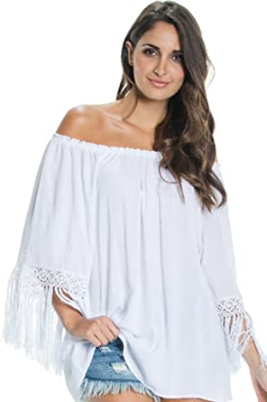 b7b681fbec2e40 Image Unavailable. Image not available for. Color: An Elan Usa Beautiful Off  the Shoulder Ruffle Sleeve Fringe Top ...