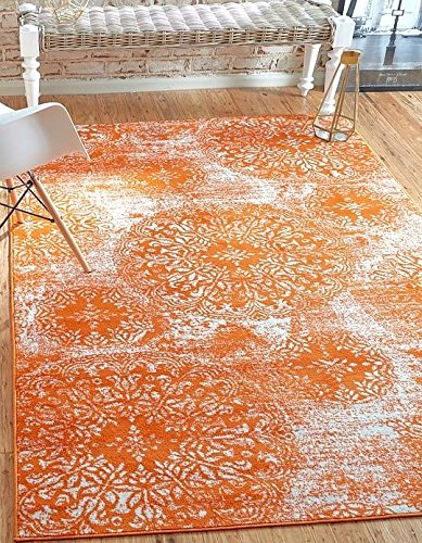 Orange Area Rug (Unique Loom Sofia Collection Orange 4 x 6 Area Rug (4' x 6'))