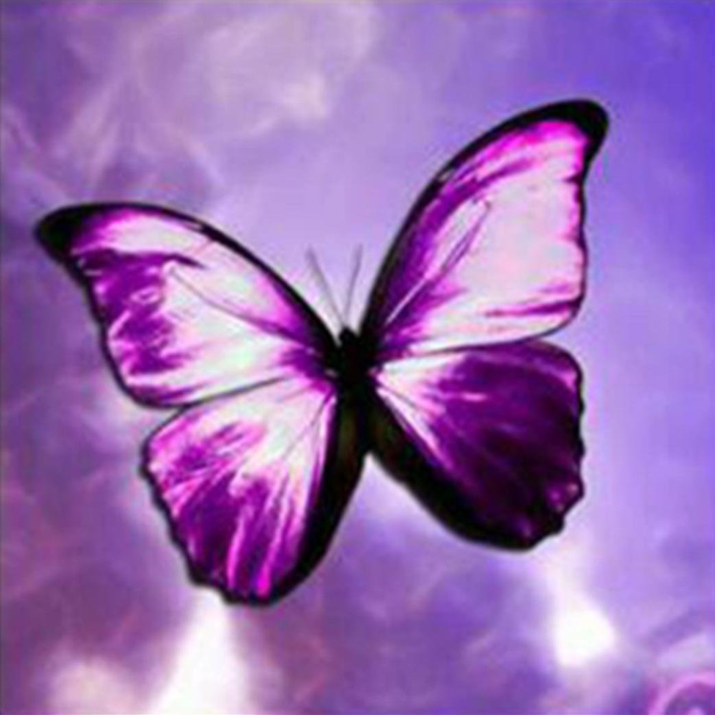5D DIY Drill Diamond Painting Rhinestone Purple Butterfly Pictures of Crystals Diamond Dot Kits Arts, Crafts & Sewing Cross Stitch SUNBIBE