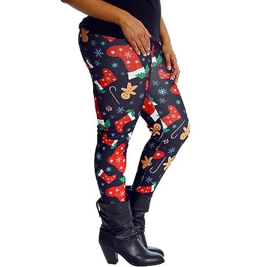 Yvelands Mujer Papá Noel Imprimir Leggings elásticos Ajustados Pantalones de lápiz de Cintura Alta Pantalones: Amazon.es: Ropa y accesorios