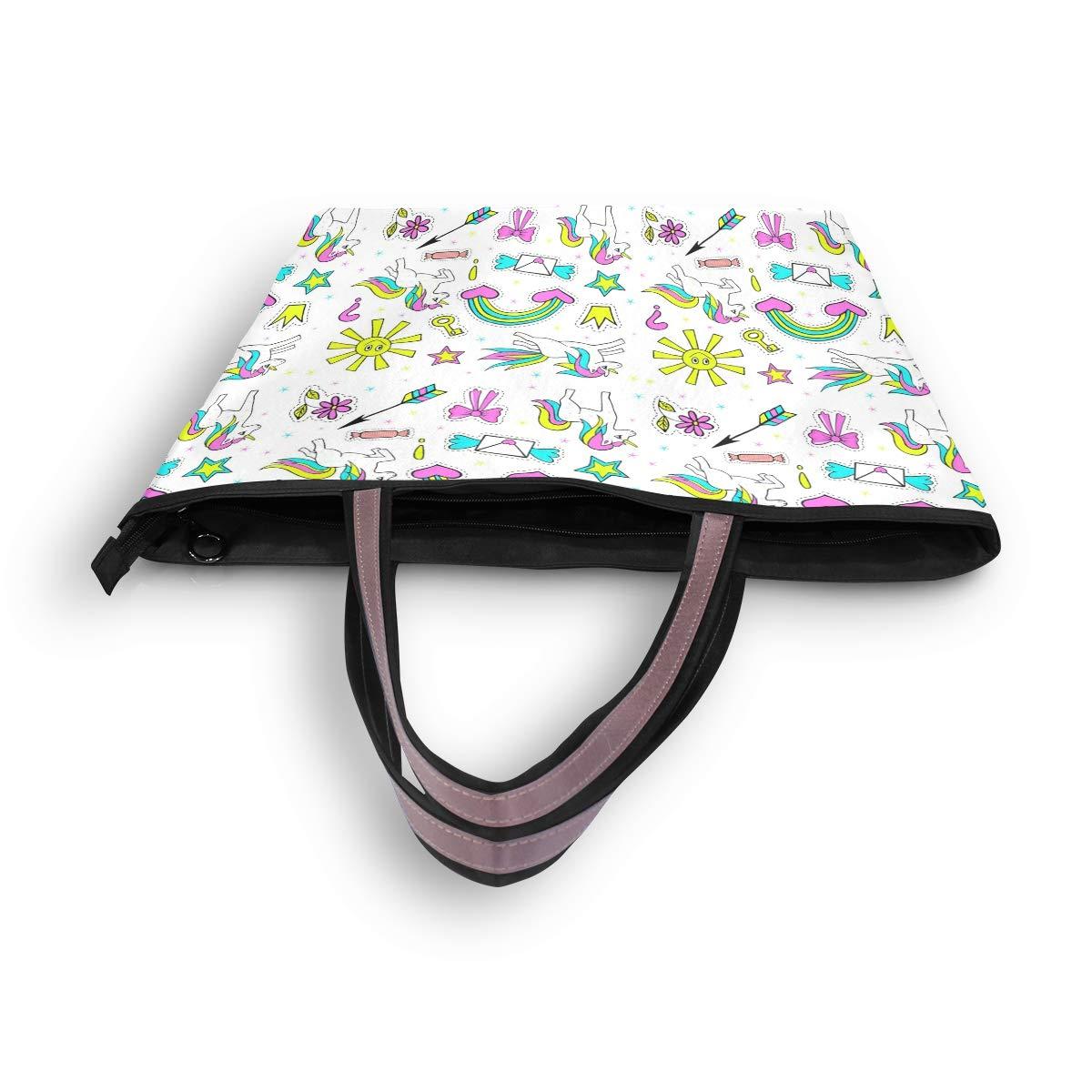 Women Handle Fashion Unicorn Sun Crown Satchel Handbags Tote Purse Shoulder Bag Big Capacity Handbag