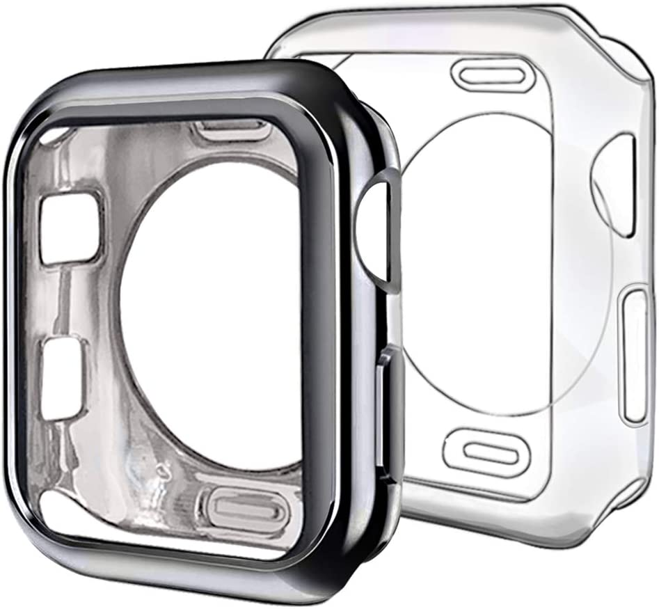 ISENXI Compatible with Apple Watch Case 38mm,2 Pack Soft TPU Ultra-Slim Lightweight Bumper Scratch Resistant Protective Case Cover Compatible with Apple Watch Series 3 2 1 (2Pack(Black+Clear))