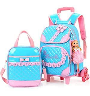 ... Climbing stairs Rose Red brand  Meetbelify Kids Rolling Backpacks  Luggage Two Wheels Unisex Trolley School Bags Black For Girls the latest   Meetbelify ... a38beb0d82a9d