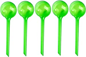 Warmshine 5 PCS Garden Watering Globes Automatic Watering Globes Plant Self Watering Bulb Waterer Automatic Watering System, 13cmx5cm/5.12inchx1.97inch - White (Green)