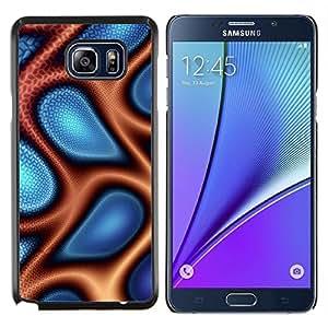 Caucho caso de Shell duro de la cubierta de accesorios de protección BY RAYDREAMMM - Samsung Galaxy Note 5 5th N9200 - Extracto azul y naranja