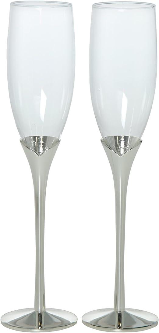DRW - Set de 2 Copas de Cava de Cristal con pie Plateado y con Caja Regalo para Bodas o Aniversarios: Amazon.es: Hogar