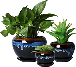SQOWL Vintage Rustic Drip Glazed Round Ceramic Succulent Herbs Cactus Planters Flower Pots Small to Medium Sized with Saucers for Home Balcony Office Indoor Outdoor Set of 3