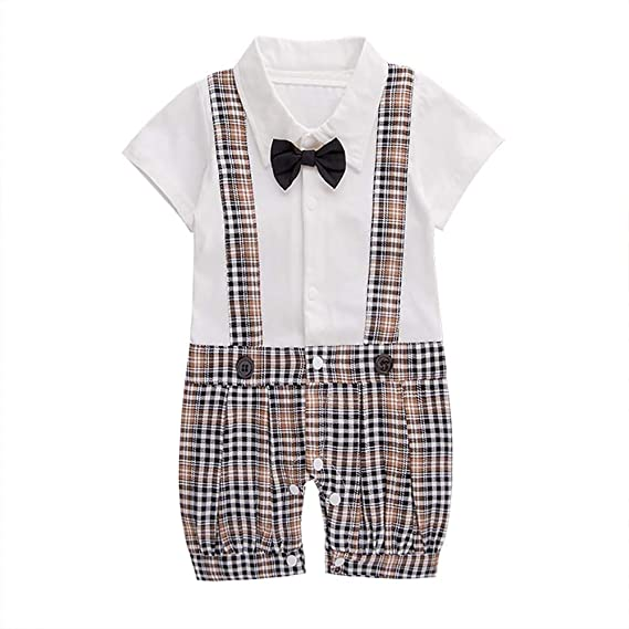 9cef2257bfa NYAN CAT Baby-Boys Cotton Check Print Bow Attached Romper (White