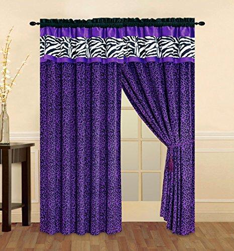 4 - Piece Rod Pocketed Bright Purple Black White Zebra Leopard Micro Fur curtain set Drapes / Window Panels 108