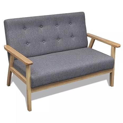 Furnituredeals Sofa de tela Sofa gris de madera modelo retro ...