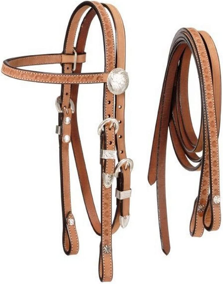 Leather Double Stitched Browband HEADSTALL with SILVER Star Conchos /& 6/' REINS