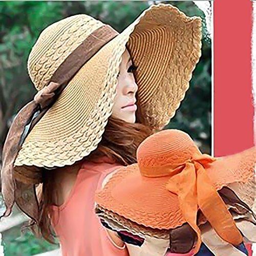 Fashion Women Wide Large Brim Floppy Summer Beach Sun Hat Straw Hat Cap  with Big Bow 8faa66b4840b