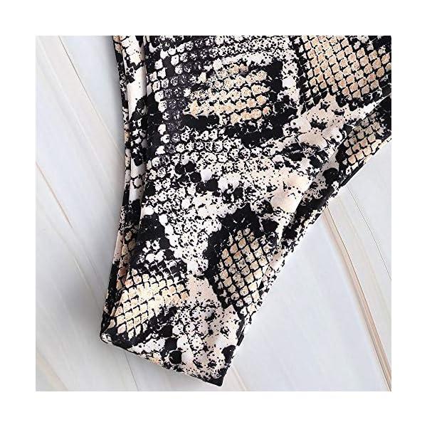 ZAFUL - Bikini da donna in pelle di serpente, leopardato, con stampa a V profonda, taglio alto 5 spesavip