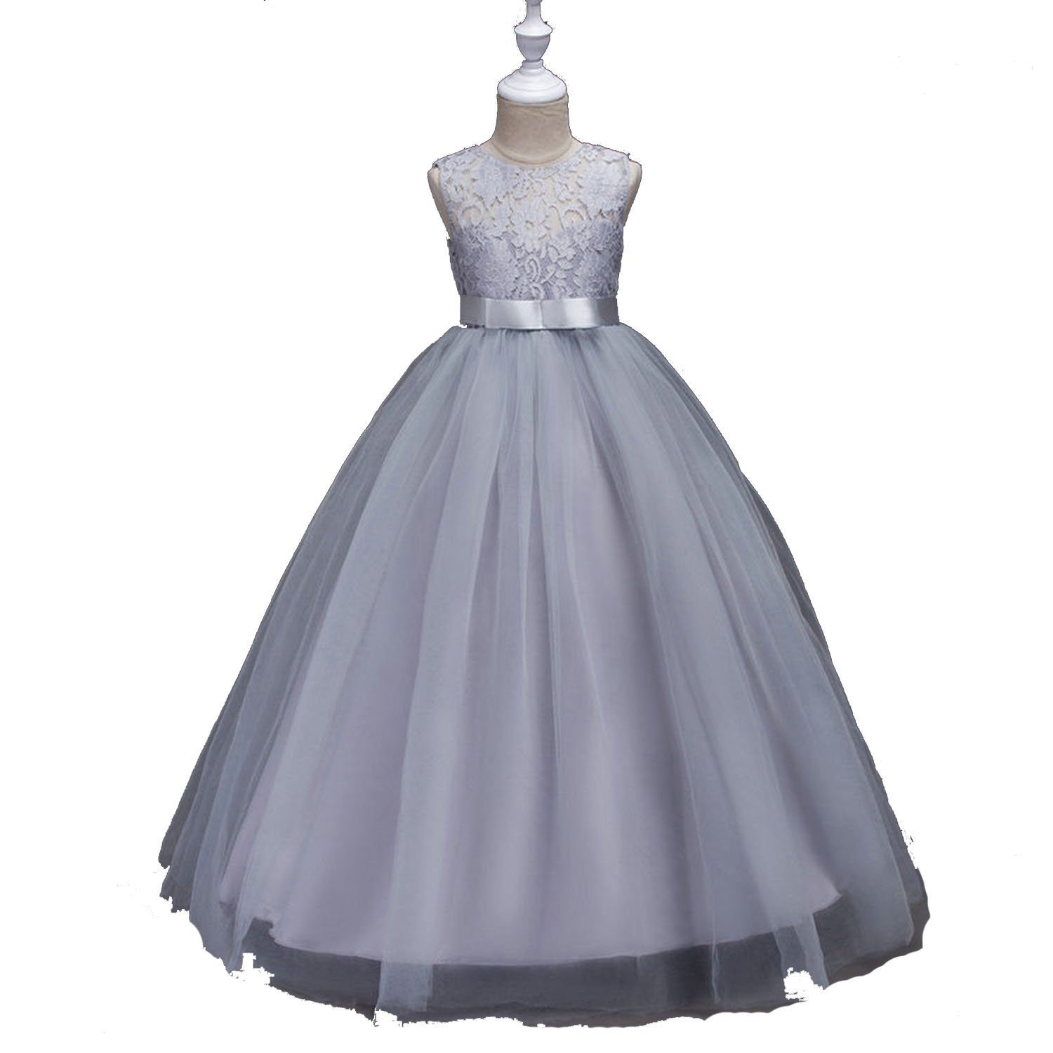 White Lace Flower Girl Dresses for Weddings Baby Kids Dresses for Girls Clothes Long Formal Ball Gown,as pic,12T