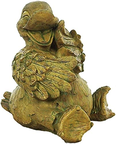 Solid Rock Stoneworks Slip The Duck Stone Garden Statue 11in Tall Brushed Moss Cypress Color