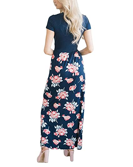 7498c51585a YOMISOY Womens Summer Maxi Floral Short Sleeve Wrap V Neck Empire Waist  Long Dress with Pocket at Amazon Women s Clothing store