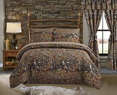 Regal Comfort The Woods Natural Green Camouflage Twin 4 Piece Premium Luxury Comforter, Bed Skirt, and 2 Pillow Shams Set - Camo Bedding Set For Hunters Cabin or Rustic Lodge Teens Boys and Girls (Camouflage Decor Home)