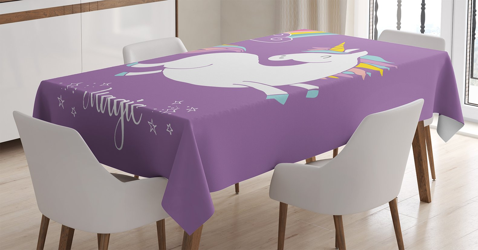 Ambesonne Unicorn Tablecloth, Mythical Animal with Clouds and Rainbow Figure Fairy Cute Unicorn Image Print, Dining Room Kitchen Rectangular Table Cover, 52 W X 70 L inches, Lavander White