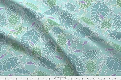 Spoonflower Sea Turtle Fabric Sea Turtles In Blues & Greens With Purple Fish by Lauriekentdesigns Printed on Kona Cotton Ultra Fabric by the (Kona Sea Turtle)