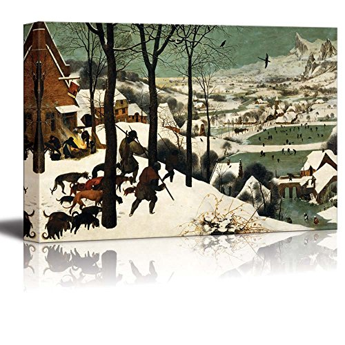 Hunters in the Snow (Winter) by Pieter Bruegel the Elder - Canvas Wall Art Famous Fine Art Reproduction| World Famous Painting Replica on Wrapped Canvas Print Modern Home Decor Wood Framed & Ready to Hang - 32