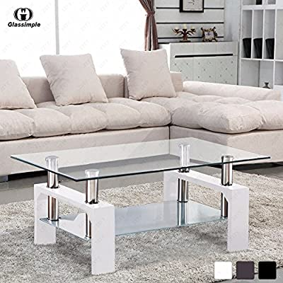 SUNCOO Glass Coffee Table Home/Office Transparent Oval Glass Boards Sturdy Chrome Plated Legs End Table Modern Coffee Table Tea Table