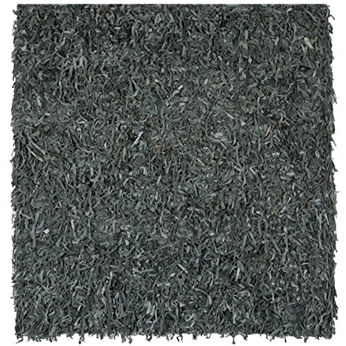 Safavieh Leather Shag Collection LSG511N Hand Woven Grey Leather Square Area Rug (6' Square)