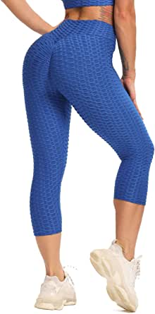 STARBILD Women's High Waist Yoga Capris Workout Running Tummy Control Leggings with Side Pockets