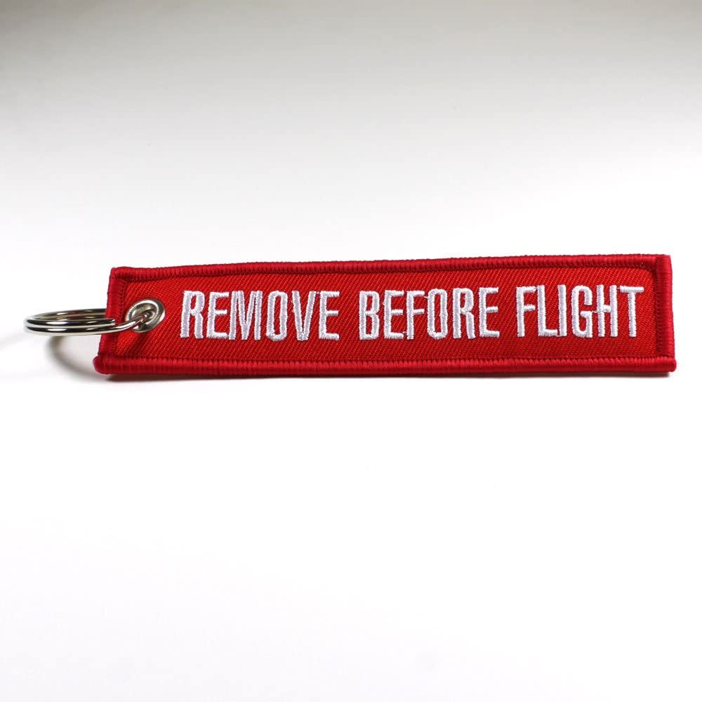 Rotary13B1 Remove Before Flight Key Chain - Red/White 1pc: Automotive