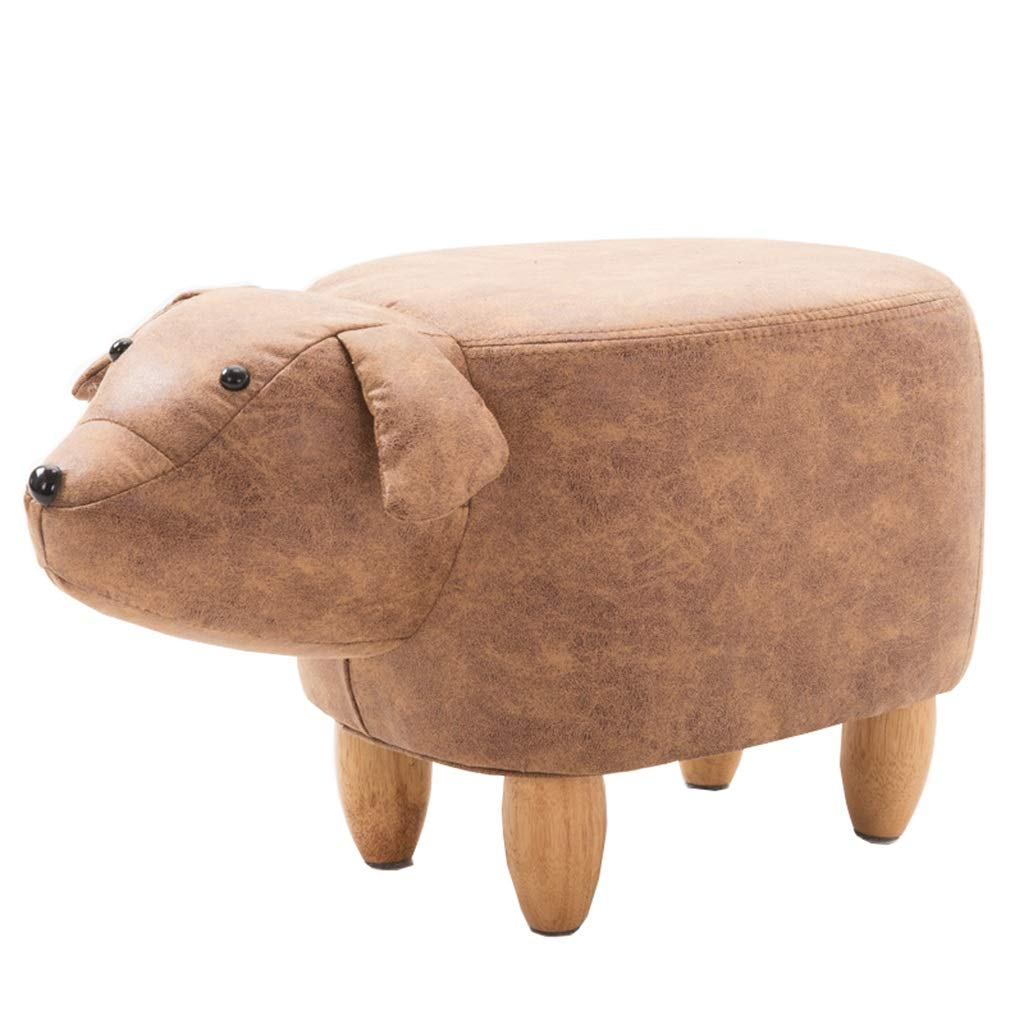 Solid Wood Footstool Adult Leather Sofa Stool Creative shoes Stool Padded Non-Slip Foot Chair Brown Yellow Milk Dog Porch