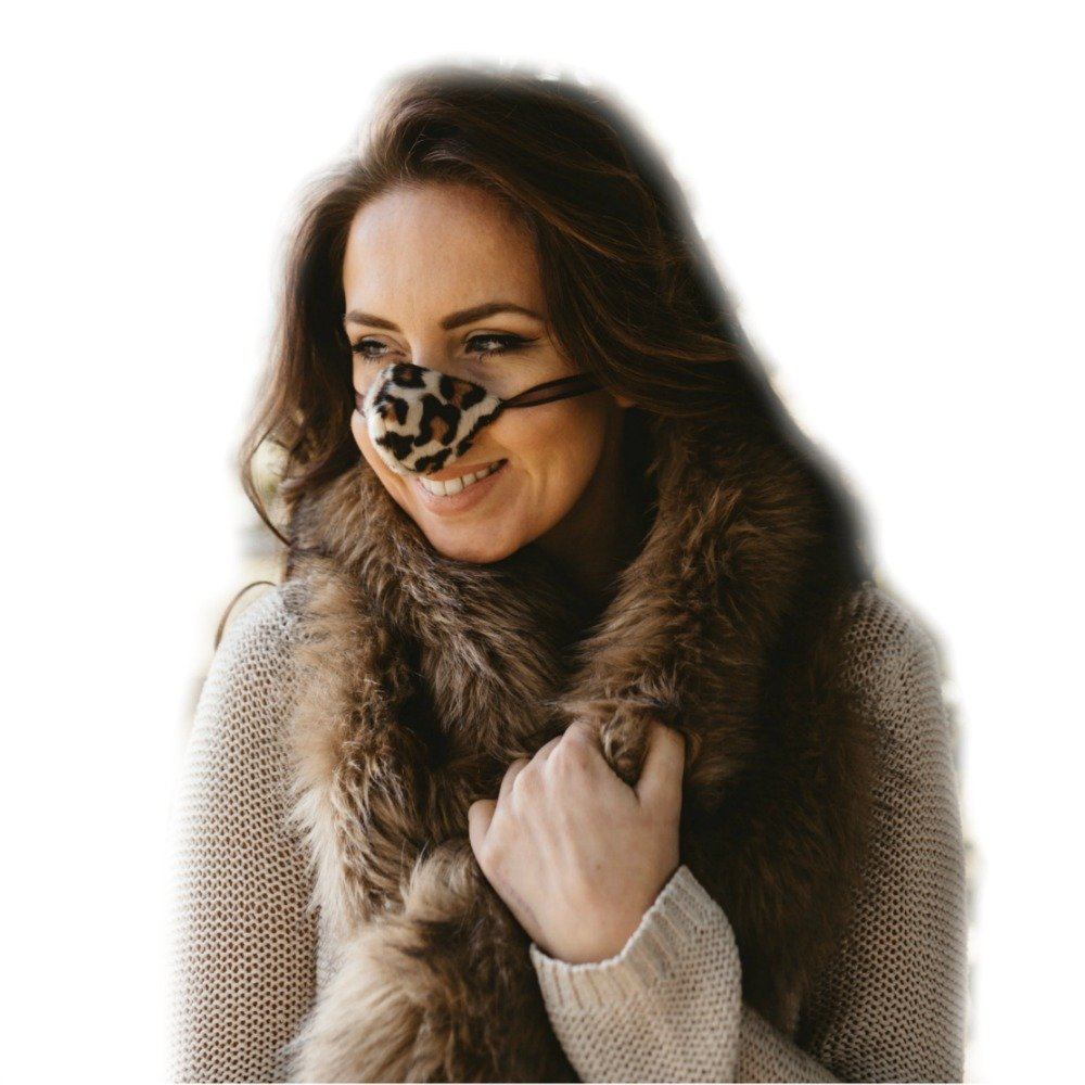 Snow Leopard Nose Warmer Faux Fur