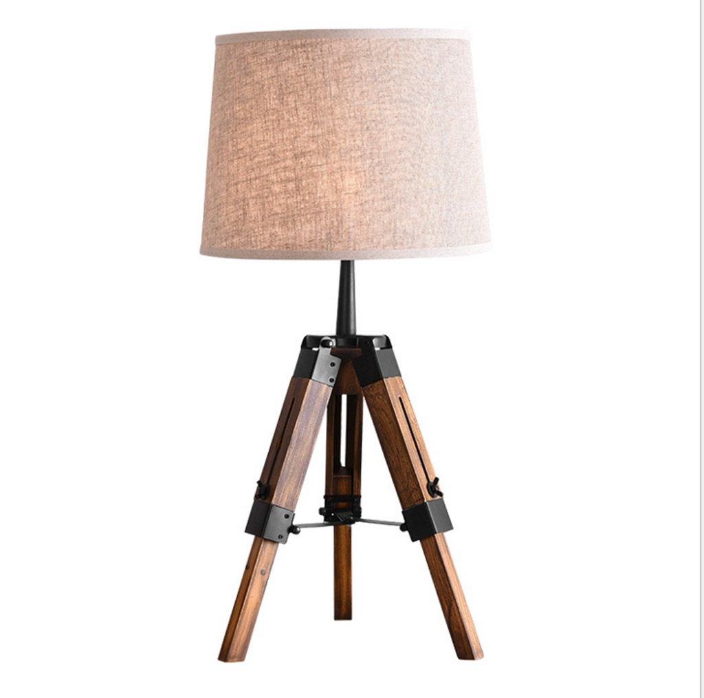 LILY American Style Massivholz Stativ Tischlampe - Schlafzimmer Nachttisch Lampe Landschaft Retro Tischlampe Wohnzimmer Buch Schreibtisch Lampe E27  1
