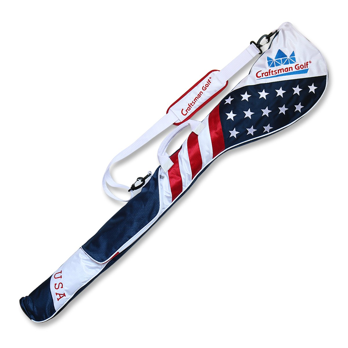 Craftsman Golf Stars and Stripes American USA US Flag Club Case Sunday Bag Red White Blue For 6-7 Clubs 49''