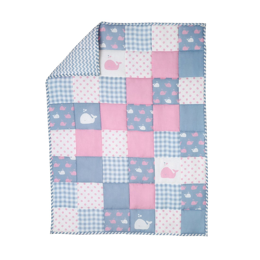 Pink Soft Baby Quilt for New Born Girls and Boys - Crib Baby Blanket Cover Cotton Cute Whale Pattern Toddler Comforter