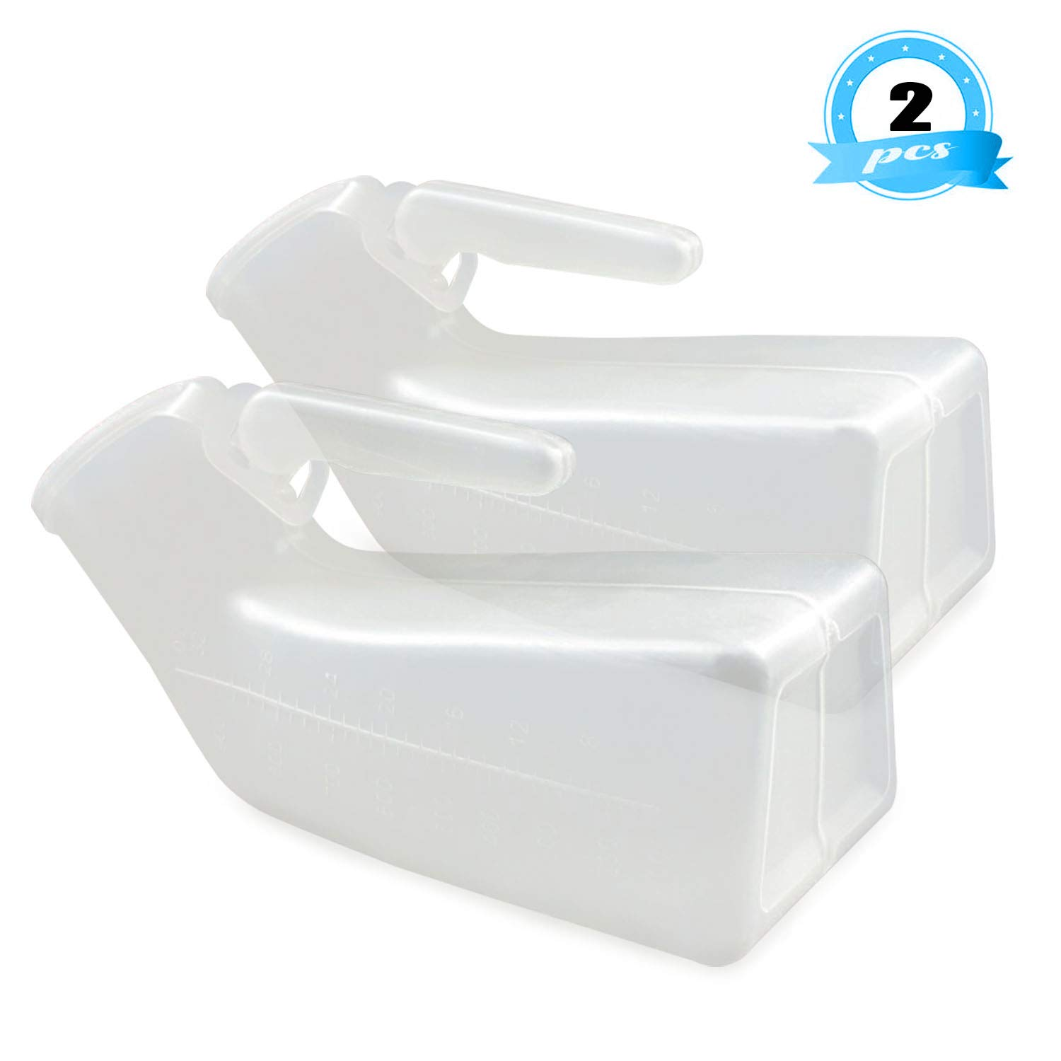 Urinals for Men, Plastic Pee Bottle, Mens Bedpan Bottle with a Lid, Male Portable Pee Bottles (2 Pack) by Campeel