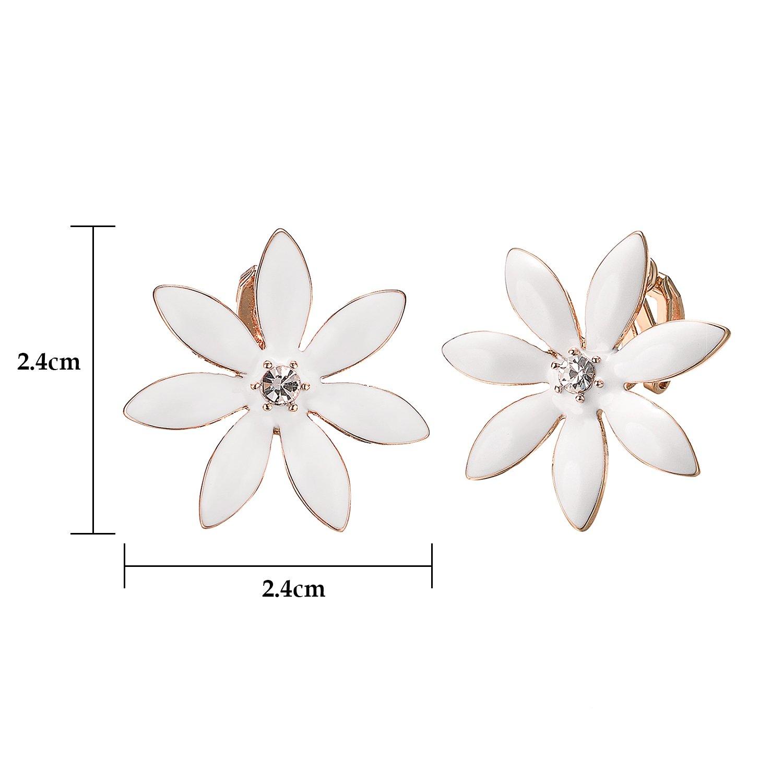 Yoursfs Flower Clip On Earrings for Women Non Pierced Ears Rose Wedding jewelry (White Clip Earrings) … by Yoursfs (Image #2)