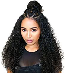 BEEOS Hair Human Hair Wigs for Black Women Brazilian Lace Front Wigs Human Hair with Baby Hair Long Curly Virgin Hair Wigs 150% Density Natural Color, 20inch