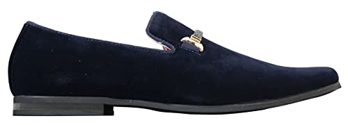 dolcetto Mocassins Homme Style Velours Daim à Enfiler Rouge Bleu Marine Noir  avec Boucle Effet Mors abc073902b7