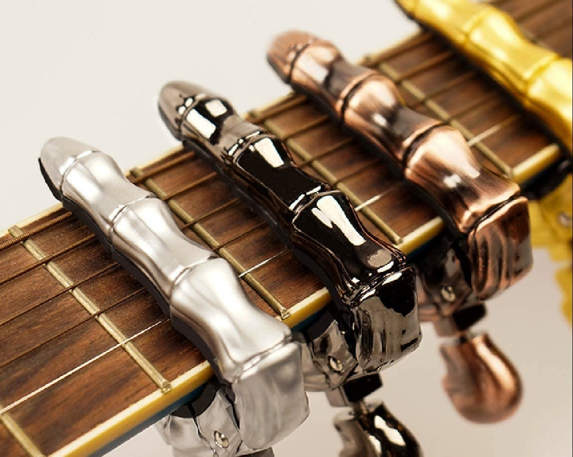 Top-Longer Trigger Cejilla Guitarra Electricas Cl/ásica Electrica Acustica Clasica Folk Ukelele Bajo Instrumento Guitar Skeleton Capo Ligero Aleaci/ón de Aluminio Gris