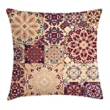 Ambesonne Vintage Throw Pillow Cushion Cover, Antique Traditional Ceramic Tiles Ornamental Moroccan Arabesque Image Print, Decorative Square Accent Pillow Case, 18 X 18 Inches, Dried Rose Ivory