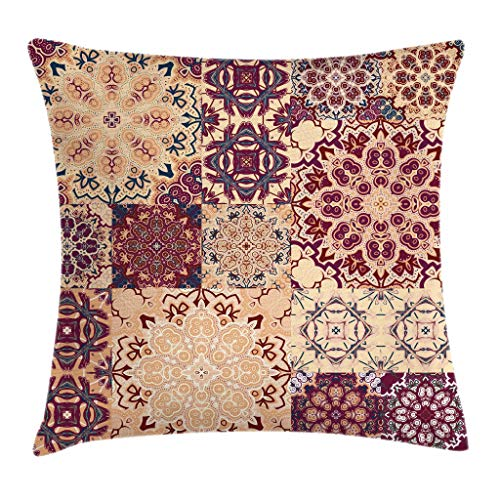 (Ambesonne Vintage Throw Pillow Cushion Cover, Antique Traditional Ceramic Tiles Ornamental Moroccan Arabesque Image Print, Decorative Square Accent Pillow Case, 24 X 24 Inches, Dried Rose Ivory)