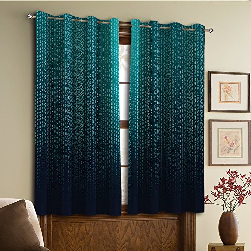 (Custom design curtains/Vintage Lace Window Curtain/Grommet Top Blackout Curtains/Thermal Insulated Curtain For Bedroom And Kitchen-Set of 2 Panels(Programmer Futuristic Matrix Display with Algorith))