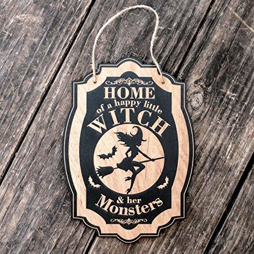 Home of a Happy Little Witch - Black Halloween Door (Funny Happy Halloween Sign)