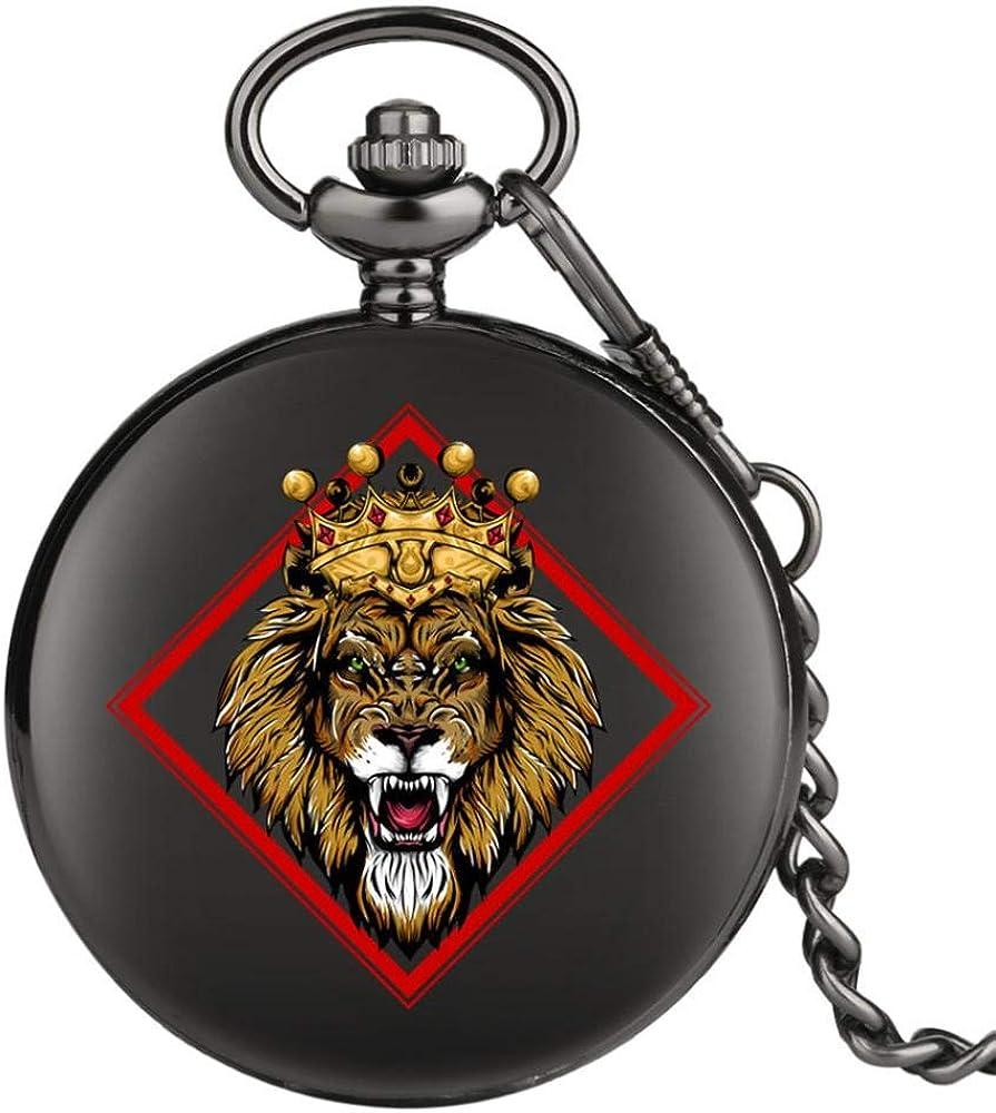 LEYUANA Crown Lion Design Punk Black Pocket Watch, Movimiento de CuarzoFob Colgante Reloj Reloj Antiguo Regalos Hombres Mujeres