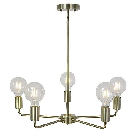 Outstanding Tuluce 5 Light Modern Chandelier Industrial Vintage Pendant Lighting Antique Brass Adjustable Height Ceiling Light Fixtures Hanging For Bedroom Dining Interior Design Ideas Tzicisoteloinfo