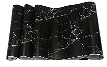 Glow4u Imitation Marbre Noir Granit Contact Papier De Cuisine Plan De  Travail Table En Vinyle Autocollant