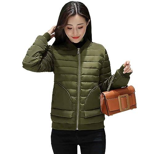 Masterein Mujeres de invierno Slim Stand Collar de algodón acolchado Chaqueta de color sólido abrigo...