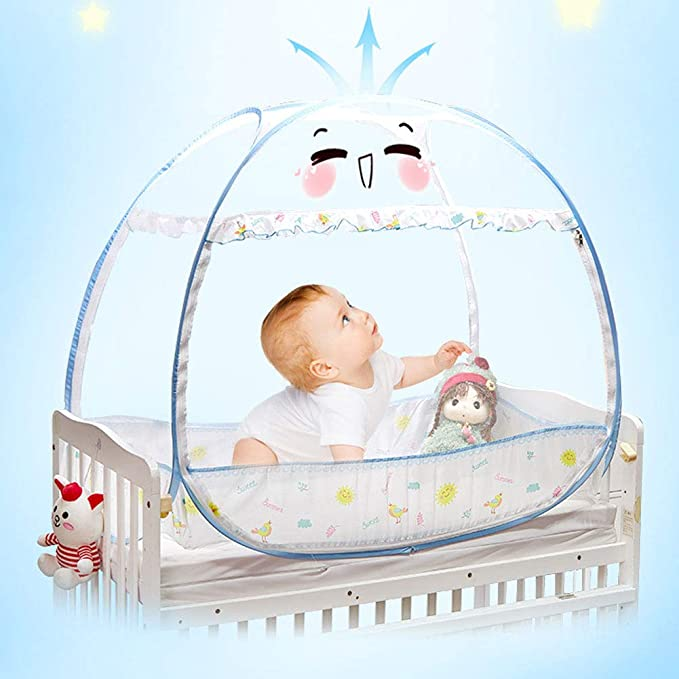 Baby Crib Safety Pop Up Tent Stylish and Sturdy Unisex Infant Crib Tent Net Mesh Cover Mosquito Net to Keep Baby from Climbing Out Protect Your Baby from Falls and Bite Blue